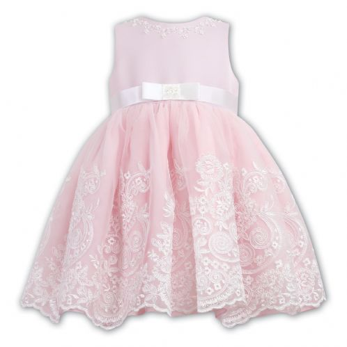 Sarah Louise Girls Pink and Ivory Embellished Bow  Dress